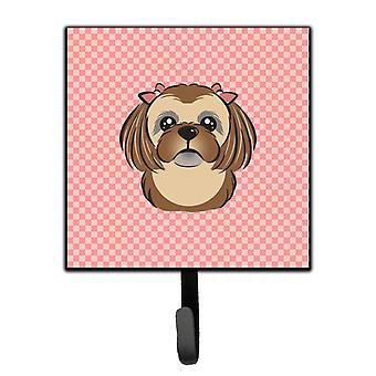 Checkerboard Pink Chocolate Brown Shih Tzu Leash or Key Holder