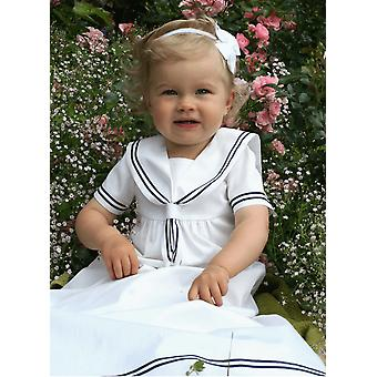 Christening Gown In White And Navy Blue  Sailor Look For Boys And Girls. Grace Of Sweden