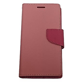 Aimo Deluxe Flip Leather Case for Samsung Galaxy S5 - Light Pink/ Dark Pink