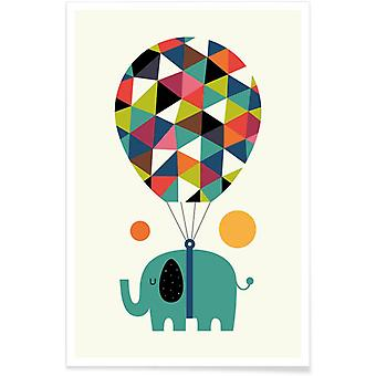 JUNIQE Print - Fly High and Dream Big - Elephant Poster in Colorful
