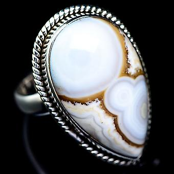 Ocean Jasper Ring Size 8 (925 Sterling Silver)  - Handmade Boho Vintage Jewelry RING5429
