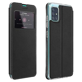 Window flip case, flip wallet case with stand for Samsung Galaxy A71 - Black