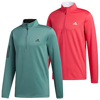 adidas Golf Mens 2020 3 Stripe Midweight LC Logo 1/4 Zip Sweater