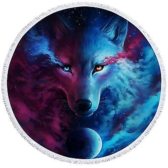 Space Colors Wolf Art Beach Towel