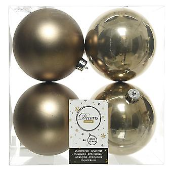4 Cashmere Brown 10cm Shatterproof Christmas Tree Bauble Decorations
