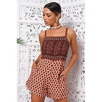 Tilly Burgundy Boho Playsuit