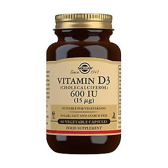 Vitamin D3 600 IU 60 vegetable capsules of 15mg