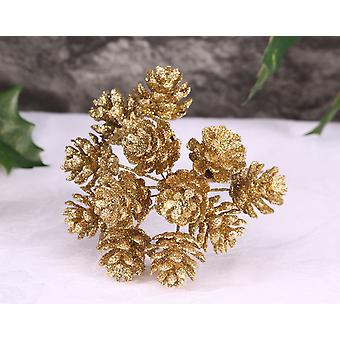 12 Mini Gold Glitter Pine Cones on Wire for Floristry Crafts