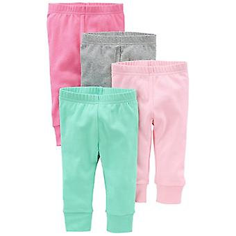 Simple Joys by Carter's Baby Girls 4-Pack Pant, Pink/Grey, Newborn