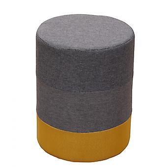 Rebecca Furniture Footrest Pouf Padded Wood Yellow Fabric Grey 45x35x35