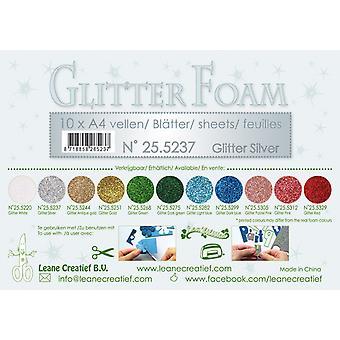 Leane Creatief Glitter Foam Sheets A4 Glitter Silver