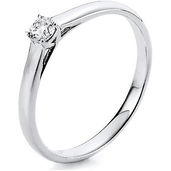 Diamond Ring Ring - 14K 585 White Gold - 0.15 ct.