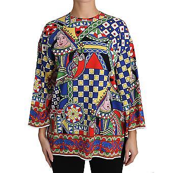 Dolce & Gabbana Çok Renkli İpek Streç Kart Güverte T-Shirt TSH3083-36