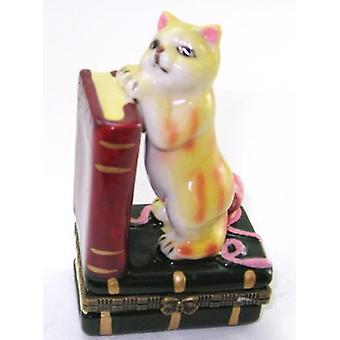 Cat Lover Kitten with Books Hinged Trinket Box