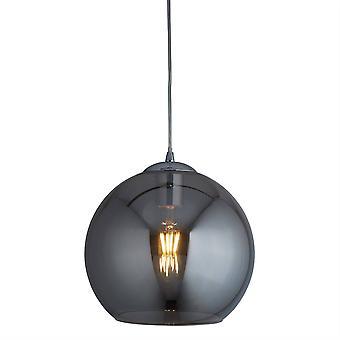Søgelys bolde - 1 Lys Dome Loft Vedhæng Chrome, Røget Glas, E27