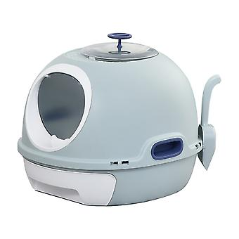 PawHut Cat Litter Box Toilet With Litter Scoop Enclosed Drawer Skylight Easy To Clean Blue