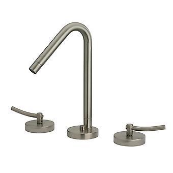 Robinet répandu de toilette de Metrohaus avec le bec pivotant de 45 degrés, les déchets pop-up et les poignées de levier - nickel brossé - Pvd