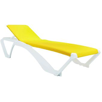 Resol Marina Garden Sun Lounger Bed - Adjustable Reclining Outdoor Summer Furniture - White, Yellow