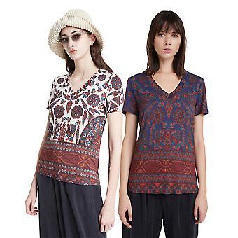 Desigual Bénin V-Neck Boho Ethnic T-shirt 20WWTKAL