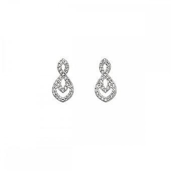 Hete diamanten Sterling zilveren harmonie witte Topaz oorbellen DE609