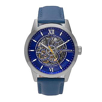 Heritor Automatic Jonas Leather-Band Skeleton Watch - Silver/Blue