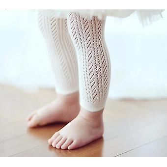 Solid White Tight Knitting Hollow Out Pantyhose For Baby Girls