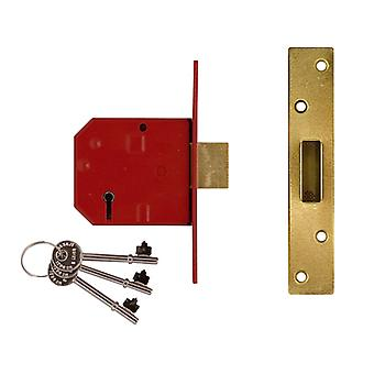 Union 2134E 5 Alavanca BS Mortice Deadlock Brass Acabamento 67mm 2.5in Visi