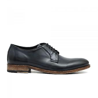 Blue Leather Derby Lace-Up