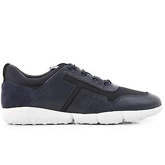 Tod''s Masculino Azul Couro e Sapato Esportivo de Tecido
