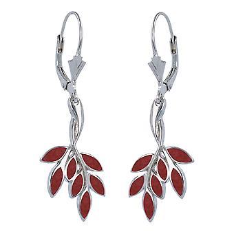 ADEN 925 Srebrne kolczyki z kwiatami koralowymi (id 2150)