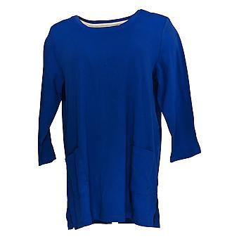 Isaac Mizrahi Live! Damen's Top 3/4 Sleeve Tunika w / Taschen blau A366339