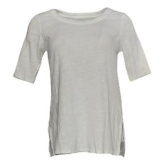 J.Jill Women's Top Pima Cotton Scoop Neck Elbow Sleeve Knit White A390664