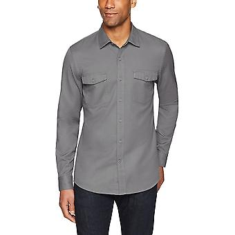 Goodthreads Men's Slim-Fit Long-Sleeve Ripstop Dobby Shirt, grau, mittel