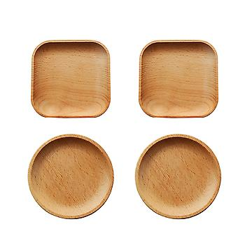 2 Round & 2square 4-pack Natural Beech Wood Serving Tray