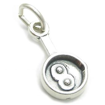 Frying Pan With Fried Eggs Sterling Silver Charm .925 X 1 Fry Up Charms - 3754