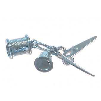 Ensemble de couture Sterling Silver Charm .925 Thimble Reel Needle Ciseaux - 4693