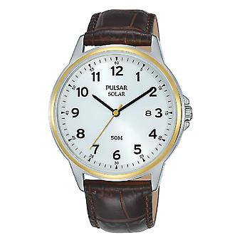 Pulsar Px3198x1 Brown Two Tone Solar Leather Men's Watch