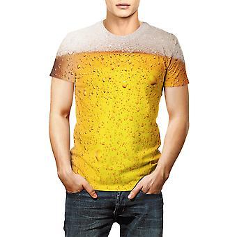 ビール3DプリントTシャツ、半袖メン&女性服