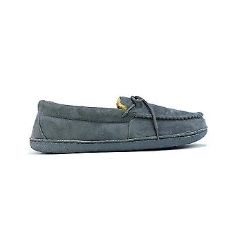 Men's Bow Faux Fur Lined Slippers Grey