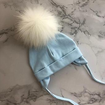 Unisex Faux Fur Pompom Cotton Earflap Caps For Newborn Baby
