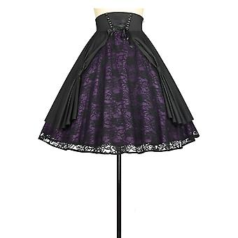 Chic Star Lace Skirt In Black/Purple