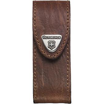 HanFei Leder-Etui fr Taschenmesser (Grtelschlaufe, Klettverschluss, 3cm x 10cm) braun