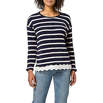 Springfield Camiseta Chenilla Bajo Puntilla T-Shirt, Medium Blue, L Woman
