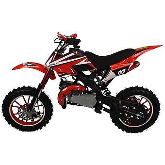 Children's Zipper 50cc Petrol Mini Kids Dirt Bike Motorbike For Ages 6-12 In Red