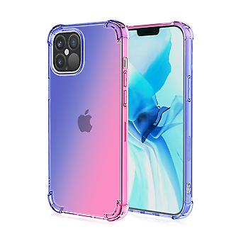Soft tpu case for iphone 12/12 pro shockproof gradient blue&pink