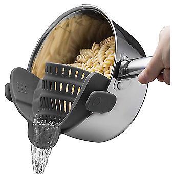 Black universal silicone clip-on pot strainer colanders cai887