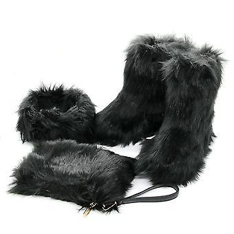 Winter Women Fox Fur Snow Boots, Fluffy Mujer Luxury Plush Boots