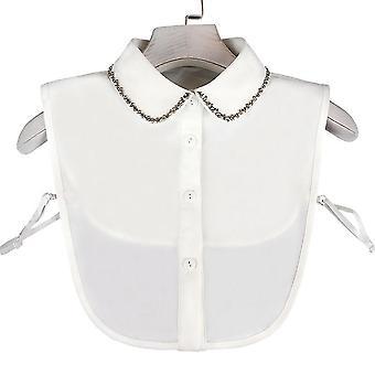 مكافحة تجعد نصف قمصان التطريز كاذبة طوق بيرل برشام بلوزة قابلة للفصل