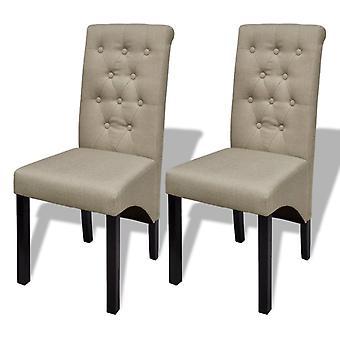 vidaXL dining chairs 2 pcs. beige fabric