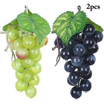 2pcs Artificial Fruit Grapes Plastic Fake Leaves Christmas Home Garden Wedding Party Decoration Food Photography Props